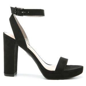 Black Amanda Pumps Open Toe Block Heel